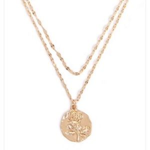 Free People Layered Rose Pendant Necklace